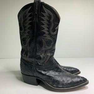 Tony Lama ostrich black western cowboy boots